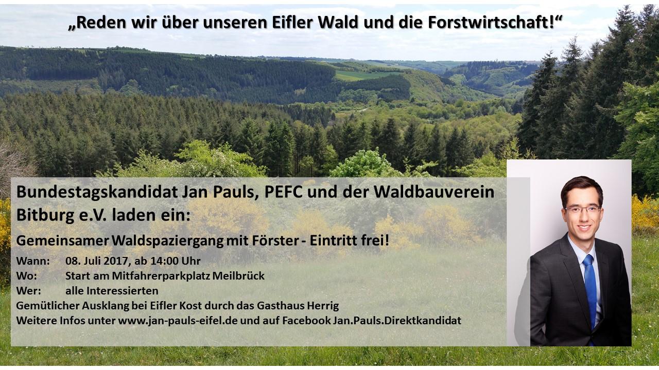 Einladung des Waldbauvereins Bitburg e. V. und des PEFC zum informativen Waldspaziergang mit Jan Pauls