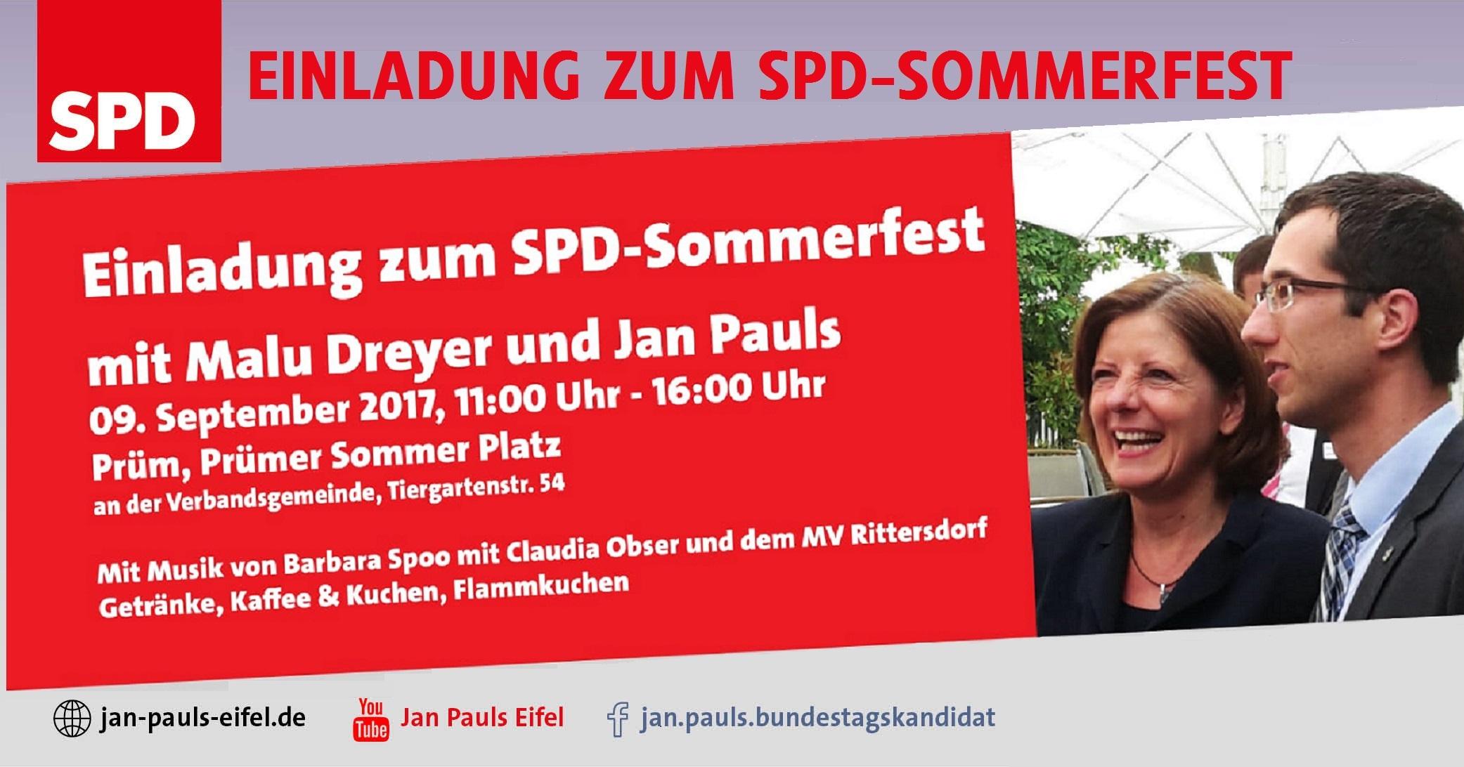 EINLADUNG ZUM SPD – SOMMERFEST