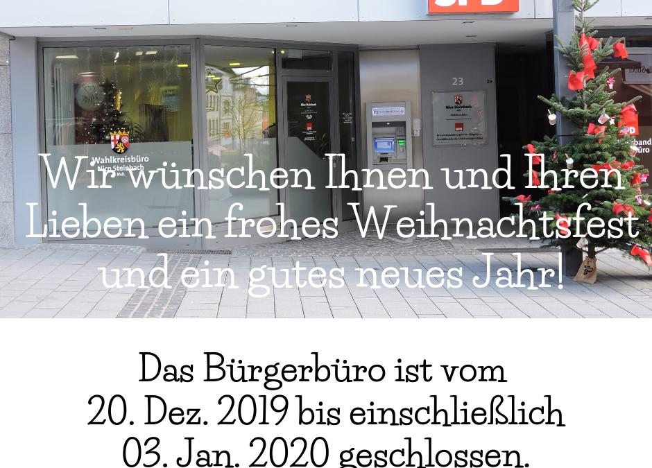 Weihnachtsferien des SPD Bürgerbüros