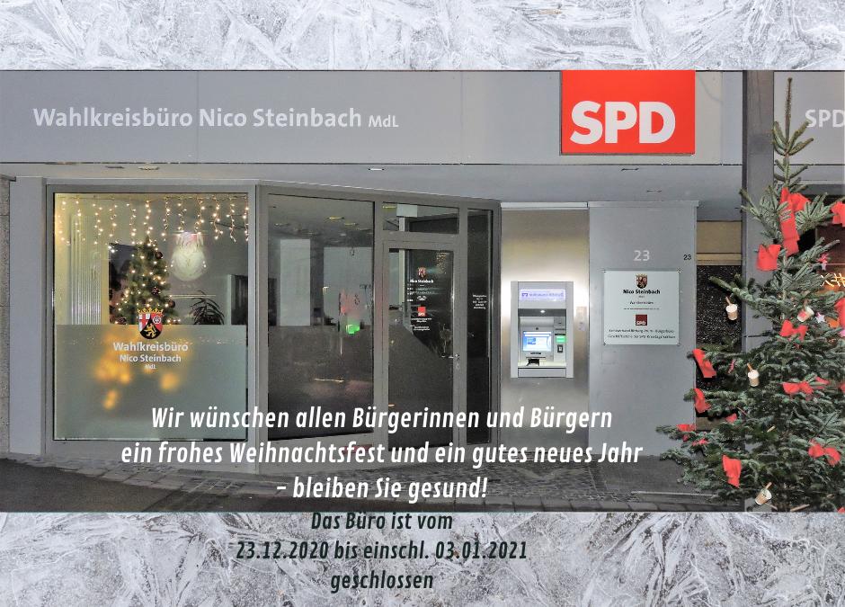 Weihnachtsferien des SPD-Bürgerbüros